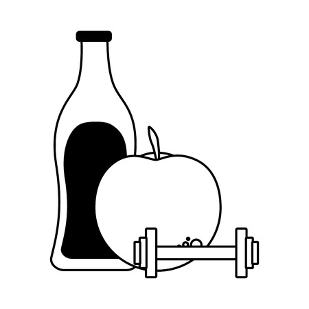 fresh juice apple barbell water vector illustration Ilustrace