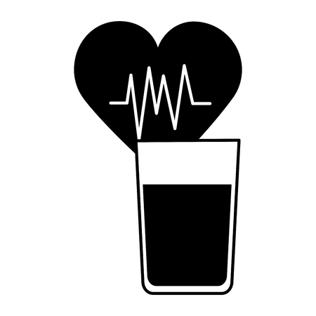 world health day heartbeat and orange juice vector illustration Ilustração