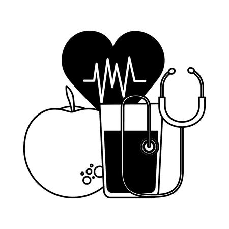 apple juice heartbeat stethoscope health vector illustration Illustration