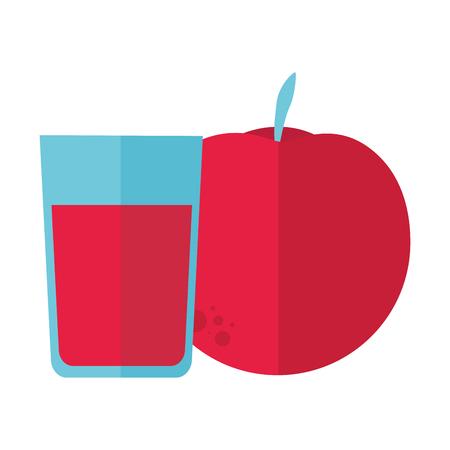 fresh juice and apple fruit vector illustration Illusztráció