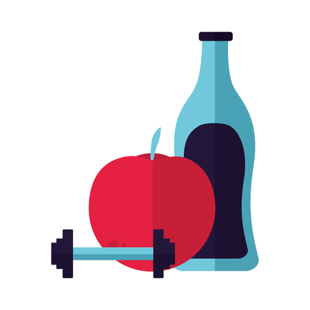 fresh juice apple barbell water vector illustration Illustration