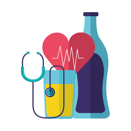 water juice heart stethoscope world health day vector illustration  イラスト・ベクター素材