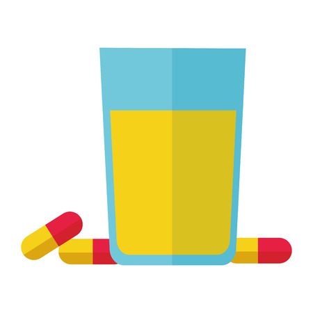 orange juice and capsules health vector illustration