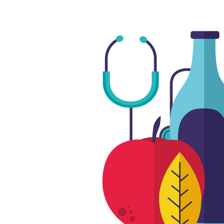 world health apple water medical stethoscope vector illustration