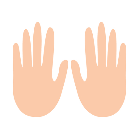 hands showing five fingers gesture vector illustration