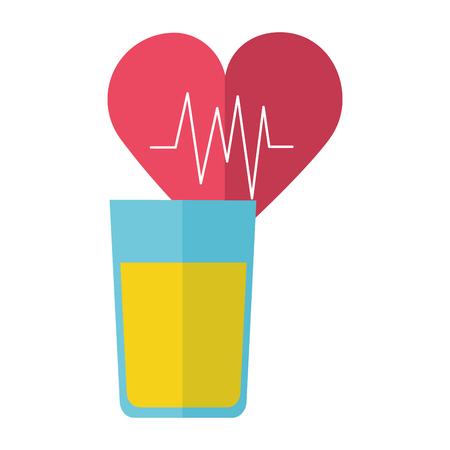 world health day heartbeat and orange juice vector illustration Ilustracja