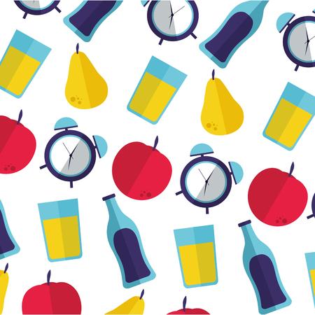 world health day background fruits water clock juice vector illustration Illustration