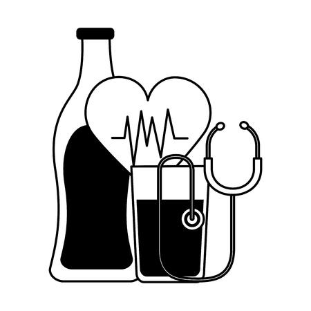 water juice heart stethoscope world health day vector illustration Ilustracja