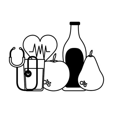 Frutas agua corazón estetoscopio salud ilustración vectorial