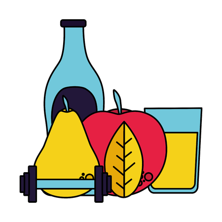 juice and pear apple barbell vector illustration