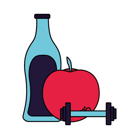 fresh juice apple barbell water vector illustration Иллюстрация