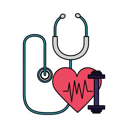 heart stethoscope fitness barbell world health day vector illustration Reklamní fotografie - 124618788