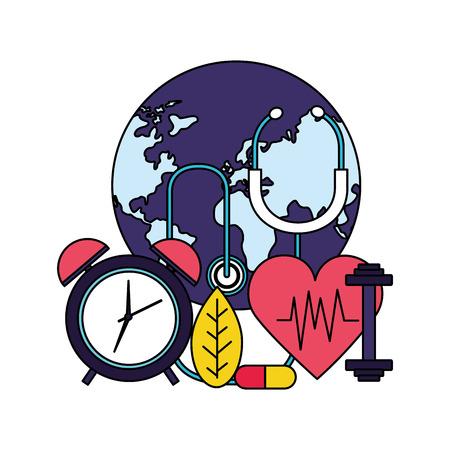 heart clock sport medicine stethoscope world health day vector illustration