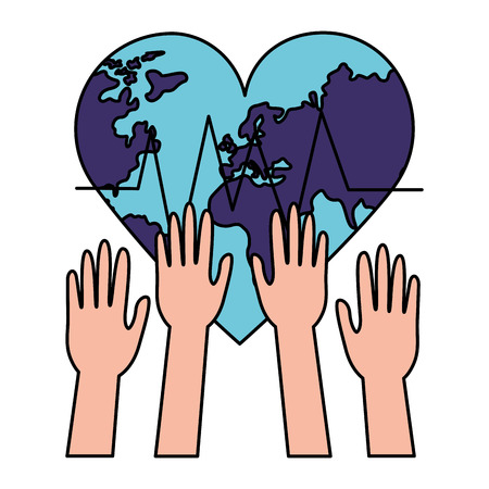 raised hands heart made world health day vector illustration