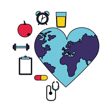 world heart shaped health sport medicine vector illustration