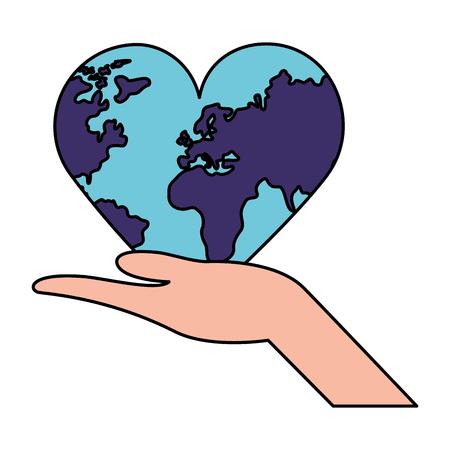 hand holding heart shaped world health day vector illustration