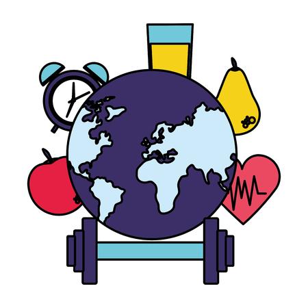 world health day fruit juice sport vector illustration