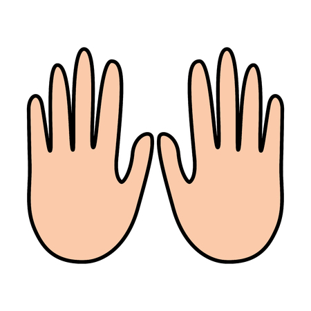 hands showing five fingers gesture vector illustration