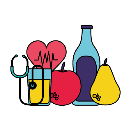 fruits water heart stethoscope health vector illustration  イラスト・ベクター素材