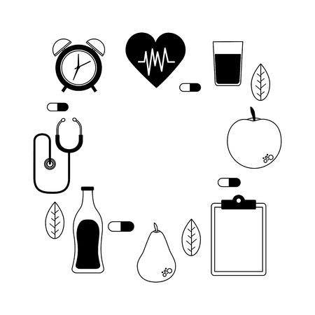 heart fruit medicine stethoscope clock health vector illustration vector illustration Illustration