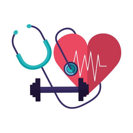 heart stethoscope fitness barbell world health day vector illustration vector illustration