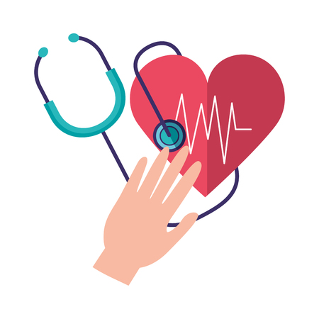 hands with heart stethoscope world health day vector illustration vector illustration Ilustração