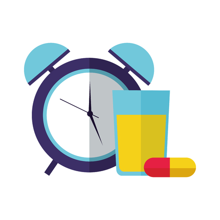orange juice capsules clock health vector illustration vector illustration