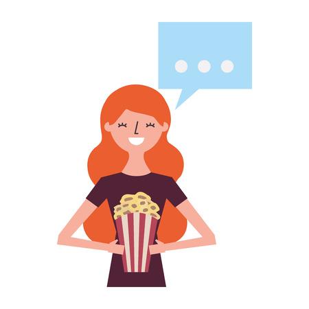 woman holding popcorn speech bubble vector illustration
