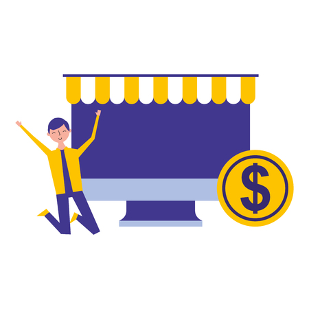 online shopping computer man and money vector illustration