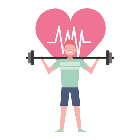 sport man with barbell heart health vector illustration Ilustrace