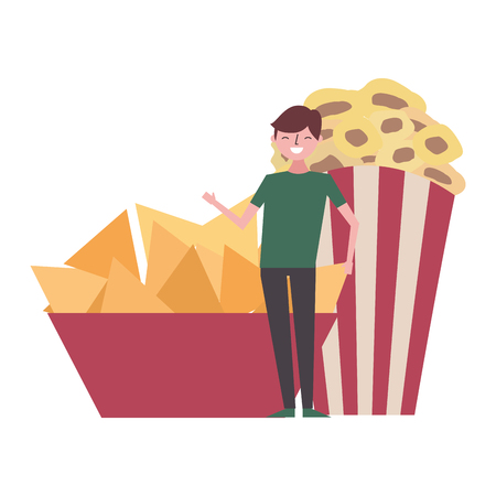 happy man with nachos and popcorn vector illustration