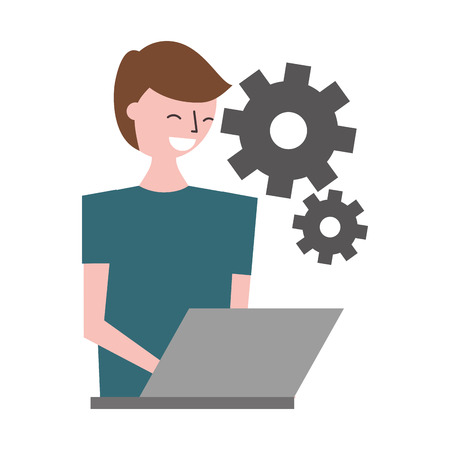 man using laptop settings gears vector illustration