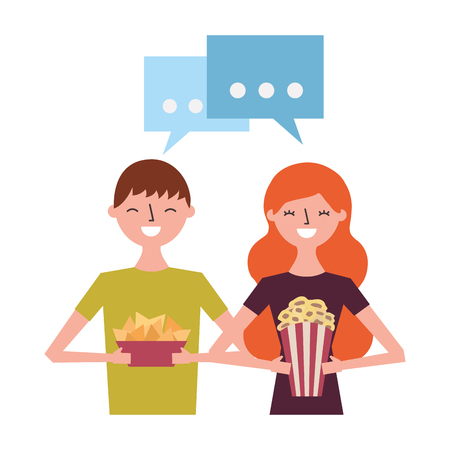 smiling couple with popcorn and nachos vector illustration Illustration