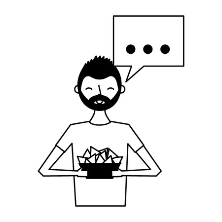 man holding nachos in bowl vector illustration