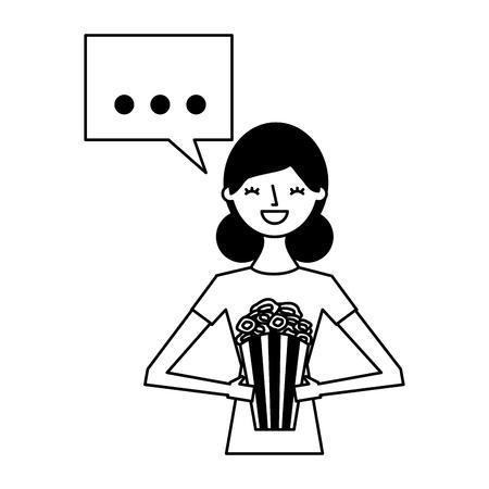 Frau mit Popcorn-Sprechblase-Vektor-Illustration