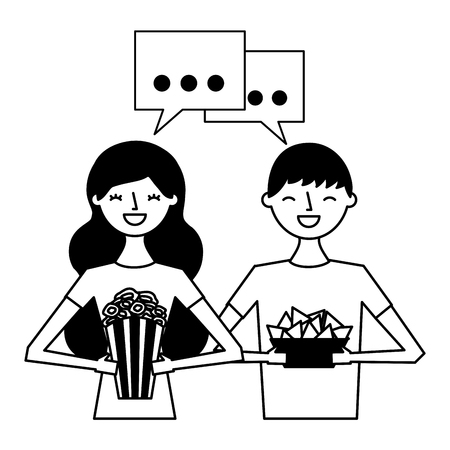smiling couple with popcorn and nachos vector illustration Ilustração