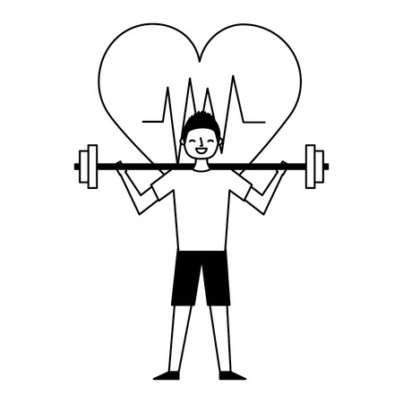 sport man with barbell heart health vector illustration Illustration