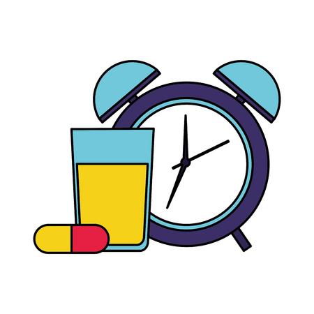 orange juice capsules clock health vector illustration vector illustration