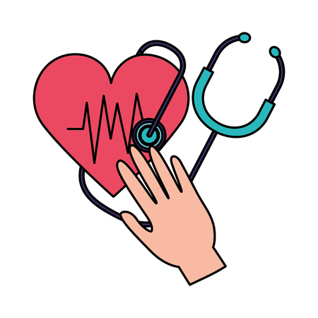 hand with heart stethoscope world health day vector illustration vector illustration Ilustração