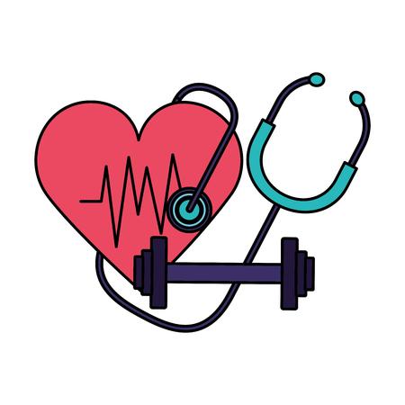 corazón estetoscopio fitness barbell día mundial de la salud ilustración vectorial ilustración vectorial