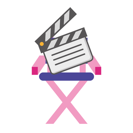 film director chair and clapboard vector illustration