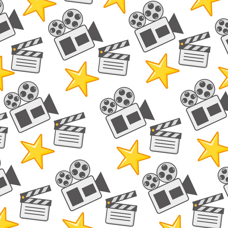 film movie clapboard  stars projector background vector illustration
