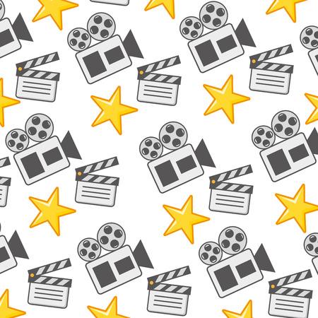 film movie clapboard  stars projector background vector illustration