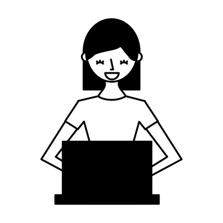 young woman using laptop technology vector illustration