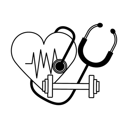 heart stethoscope fitness barbell world health day vector illustration vector illustration Reklamní fotografie - 124618872