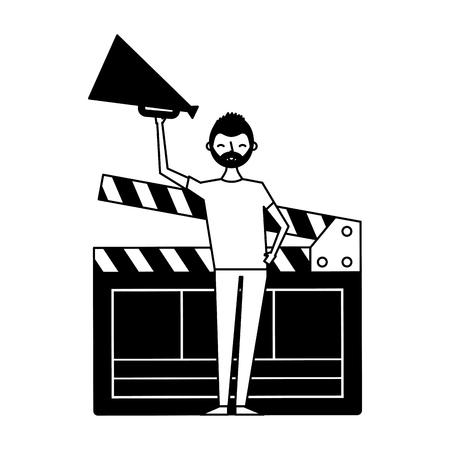 man holding speaker clapboard  movie vector illustration