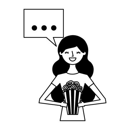 woman holding popcorn speech bubble vector illustration 스톡 콘텐츠 - 124618875
