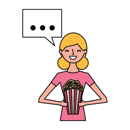 woman holding popcorn speech bubble vector illustration