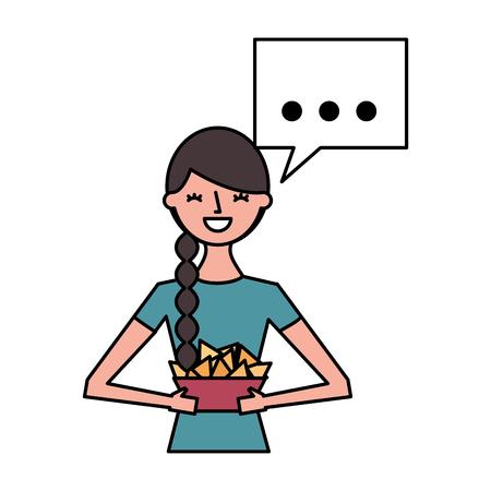 woman holding popcorn speech bubble vector illustration Stok Fotoğraf - 124618885