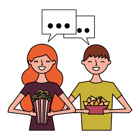 smiling couple with popcorn and nachos vector illustration Imagens - 124618890